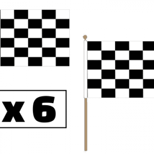 Black and White Checkered Hand Waving Flags