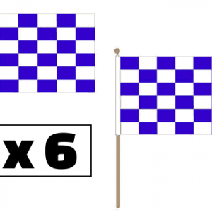 Blue and White Checkered Hand Waving Flags