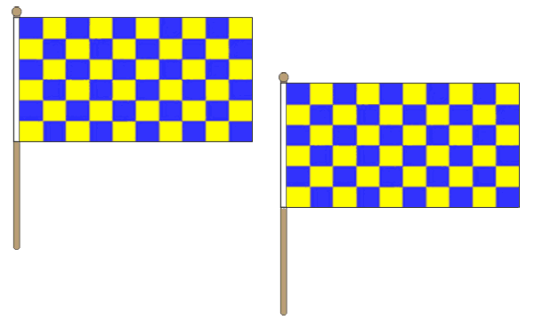 Blue and Yellow Checkered Hand Waving Flags