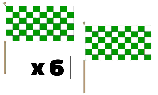 Green and White Checkered Hand Waving Flags