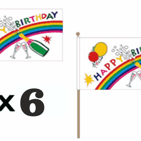 Happy Birthday Hand Waving Flags