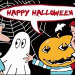 Happy Halloween Cartoon Flag
