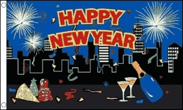Happy New Year City Flag