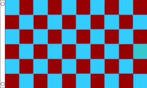 Maroon & Sky Blue Checkered Flag