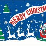 Merry Christmas Blue Flag