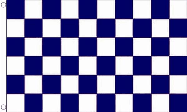 Navy Blue and White Checkered Flag