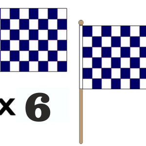 Navy Blue and White Checkered Hand Waving Flags