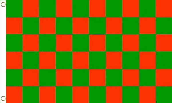 Red and Green Checkered Flag