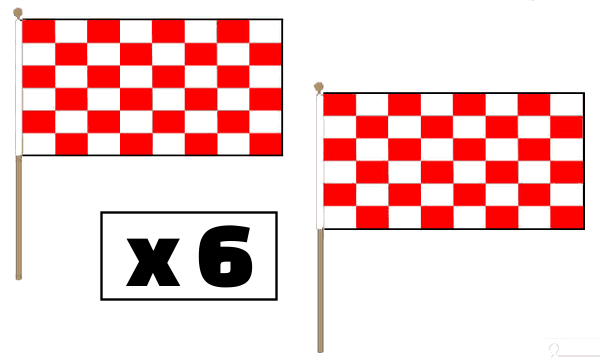 Red and White Checkered Hand Waving Flags
