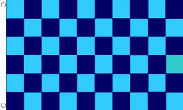 Sky Blue & Navy Blue Checkered Flag