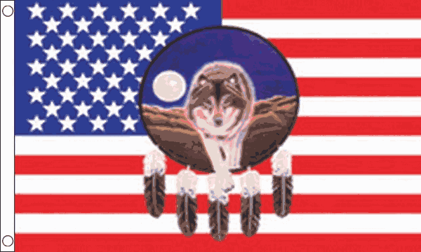 USA Feather with Wolf Flag