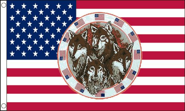 USA Four Wolves Flag