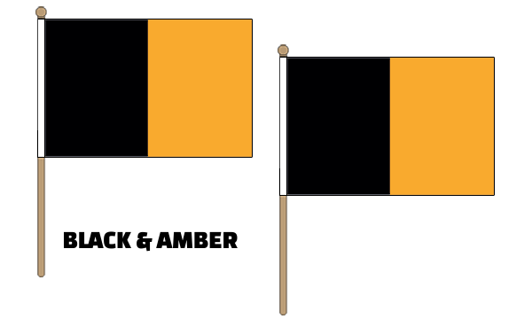 Black and Amber Hand Waving Flags