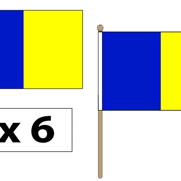 blue and gold handwaving flags