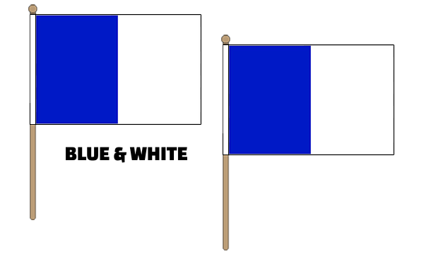 Blue and White Hand Waving Flags