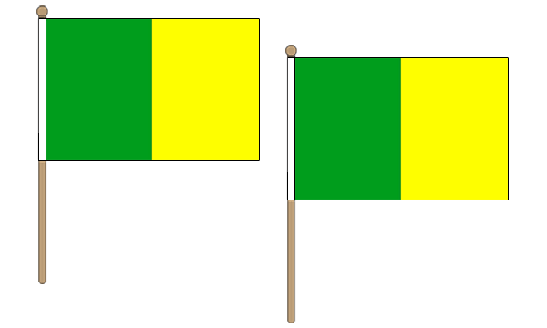 Green and Yellow Hand Waving Flags
