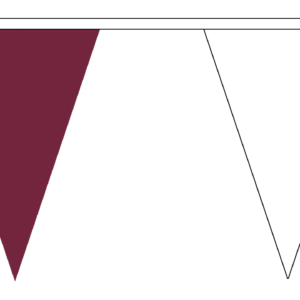 maroon and white bunting triangle