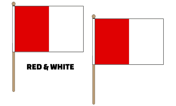 Red and White Hand Waving Flags