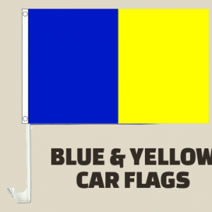 Blue and Yellow Car Flags