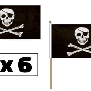 Skull & Crossbones Hand Waving Flags