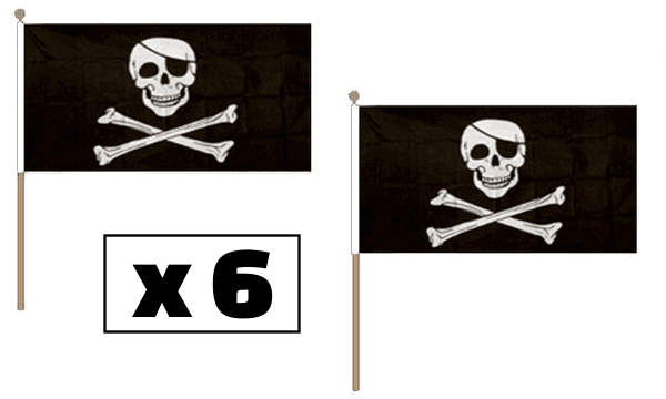 Skull & Crossbones Hand Waving Flags