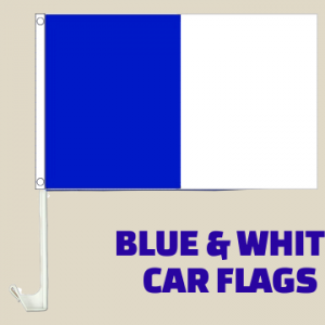 Blue and White Car Flags