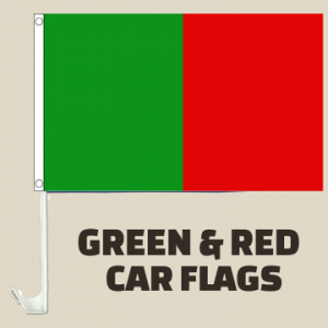 Green and Red Car Flags