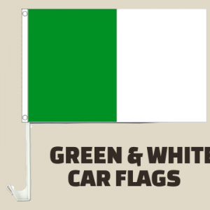 Green and White Car Flags