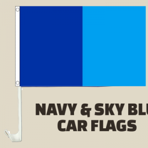 Navy and Sky Blue Car Flags