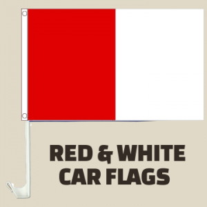 Red and White Car Flags