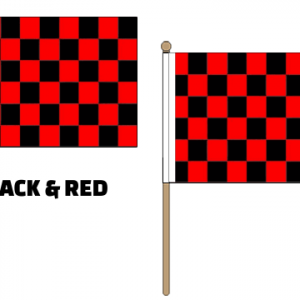 Black & Red Checkered Hand Waving Flags