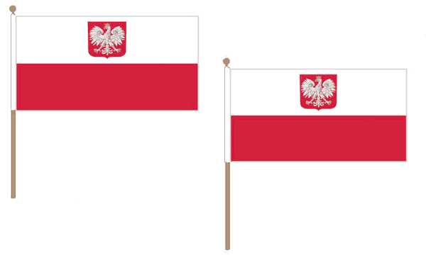 Poland Crest Hand Waving Flags