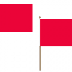 Plain Red Hand Waving Flags