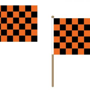 Black and Orange Checkered Hand Waving Flags