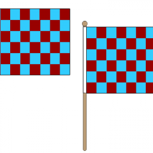 Maroon and Sky Blue Checkered Hand Waving Flags