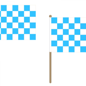 Sky Blue and White Checkered Hand Waving Flags