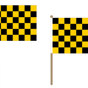 Black and Yellow Checkered Hand Waving Flags