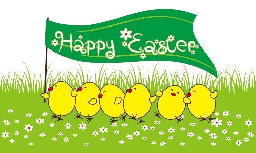 Happy Easter Chicks Flag
